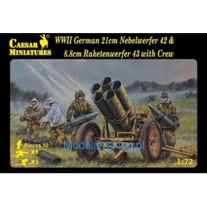 Caesar Miniatures H093 - WWII German 21cm Nebelwerfer 42 and 8.8cm Raketwerfer 43 with crew